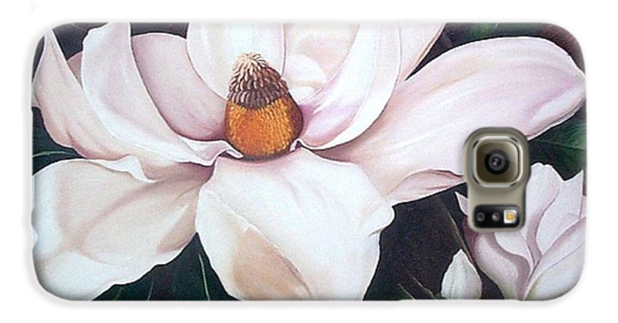 Magnolia Southern Bloom Floral Botanical White Galaxy S6 Case featuring the painting Southern Beauty by Karin Dawn Kelshall- Best