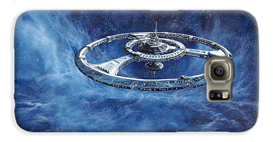 Sci-fi Galaxy S6 Case featuring the painting Deep Space Eight Station Of The Future by Murphy Elliott