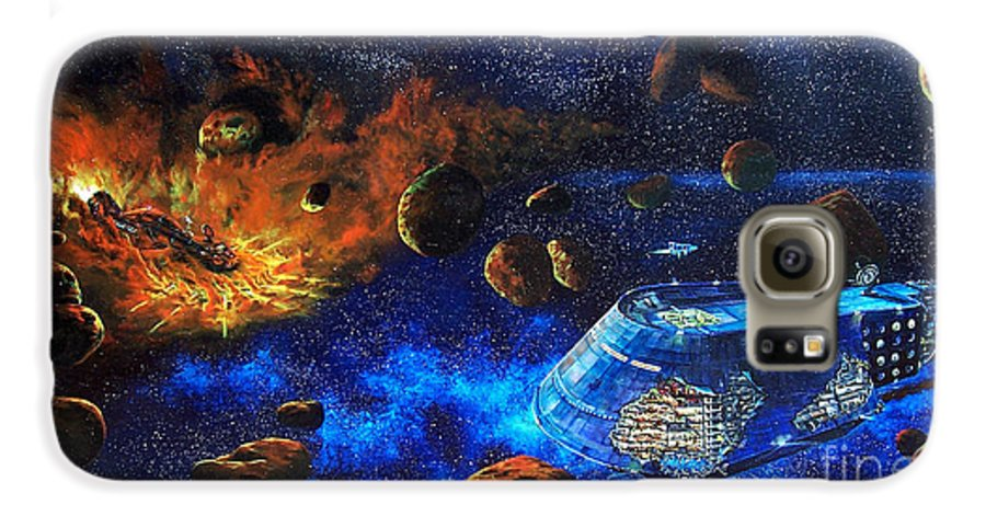 Future Galaxy S6 Case featuring the painting Spaceship Titanic by Murphy Elliott