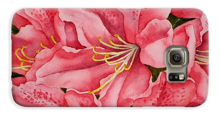 Watercolor Galaxy S6 Case featuring the painting Spring Azalea by Darla Brock