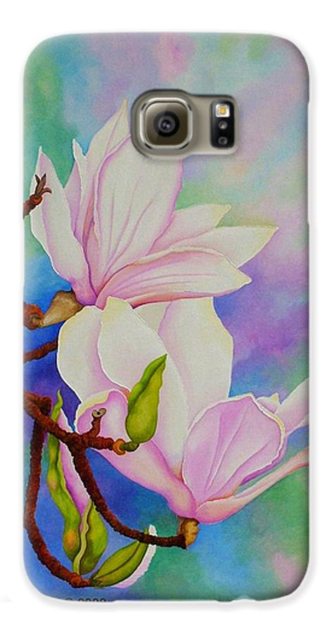 Pastels Galaxy S6 Case featuring the painting Spring Magnolia by Carol Sabo