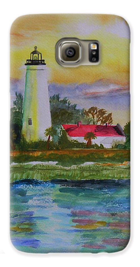 Landscape Galaxy S6 Case featuring the painting St. Marks Lighthouse-2 by Warren Thompson