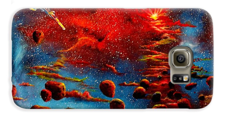Nova Galaxy S6 Case featuring the painting Starberry Nova Alien Excape by Murphy Elliott