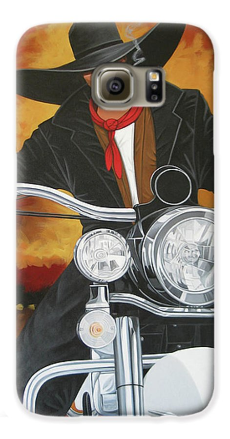 Cowboy On Motorcycle Galaxy S6 Case featuring the painting Steel Pony by Lance Headlee