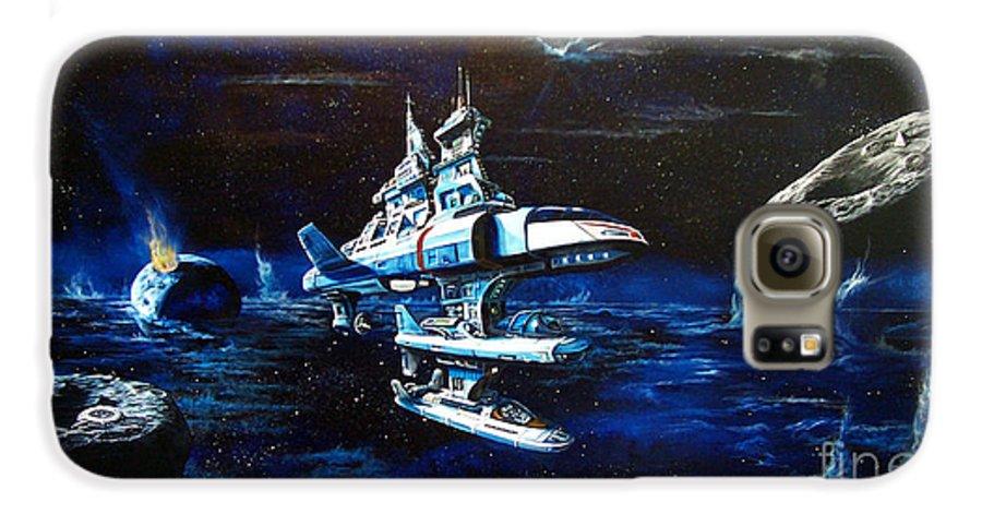 Alien Galaxy S6 Case featuring the painting Stellar Cruiser by Murphy Elliott
