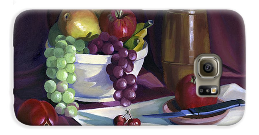 Fine Art Galaxy S6 Case featuring the painting Still Life With Apples by Nancy Griswold