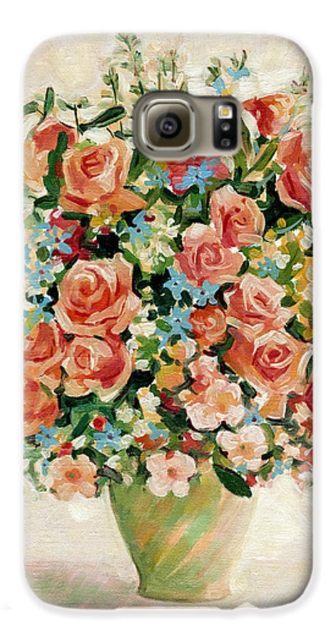 Flowers Galaxy S6 Case featuring the painting Still Life With Roses by Iliyan Bozhanov