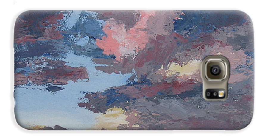 Stormy Sky Galaxy S6 Case featuring the painting Storm A Brewin by Janis Mock-Jones