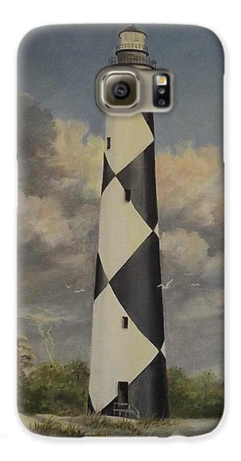 Stormy Skys Galaxy S6 Case featuring the painting Storm Over Cape Fear by Wanda Dansereau
