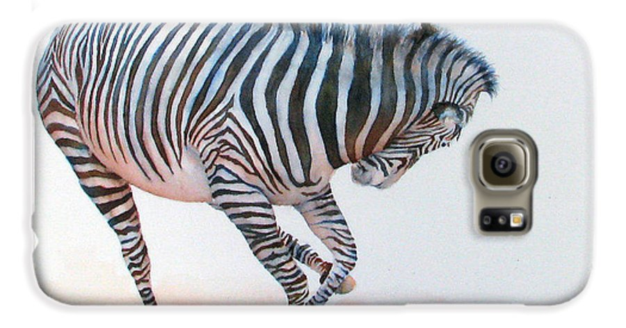 Zebra Galaxy S6 Case featuring the painting Stripes IIi by Patricia Henderson