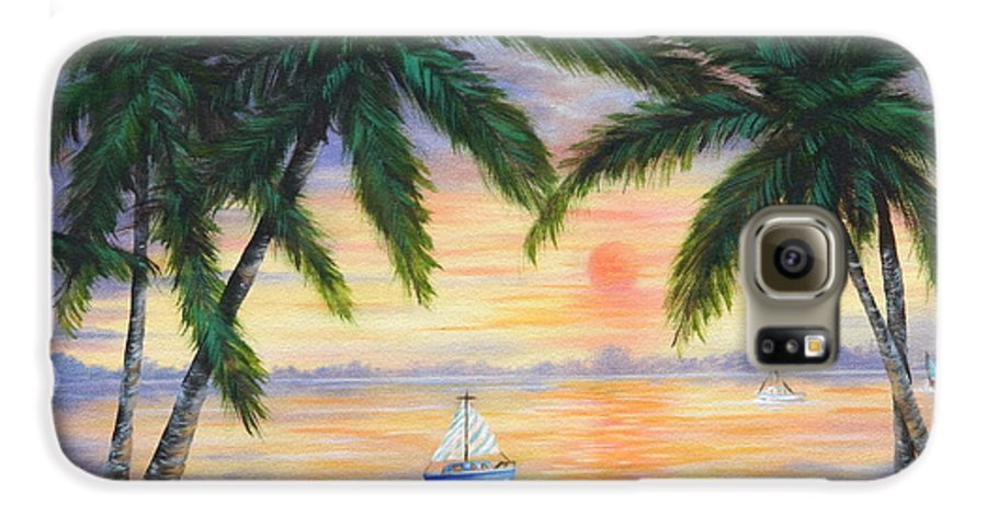 Seascape Galaxy S6 Case featuring the painting Summer Sunset by Ruth Bares