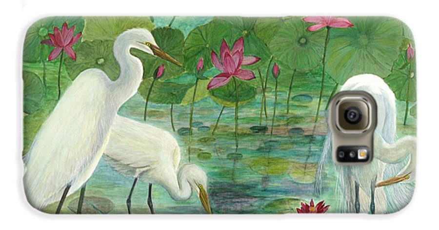 Lily Pads; Egrets; Low Country Galaxy S6 Case featuring the painting Summer Trilogy by Ben Kiger