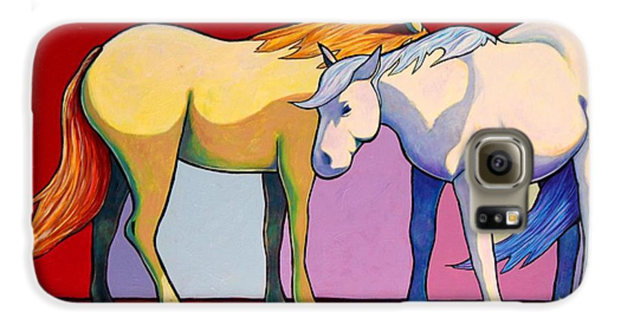 Wildlife Galaxy S6 Case featuring the painting Summer Winds - Mustangs by Joe Triano