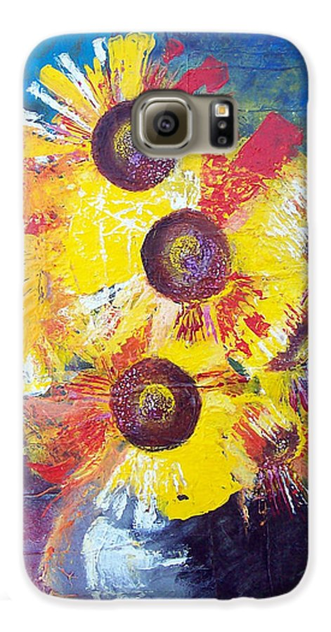 Flowers Galaxy S6 Case featuring the painting Sunflowers In Blue Vase by Valerie Wolf