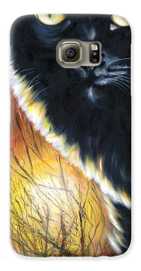 Cat Galaxy S6 Case featuring the painting Sunset by Hiroko Sakai