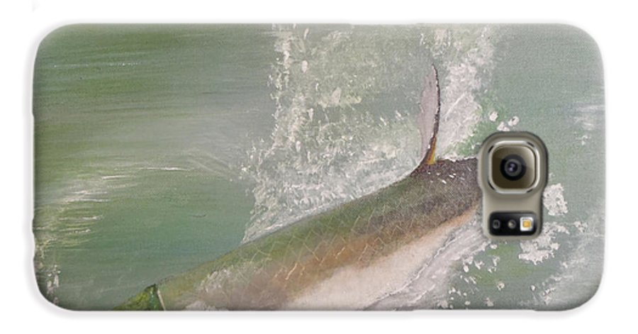 Tarpon Breaking Water Galaxy S6 Case featuring the painting Tarpon Breaking Water by Tony Rodriguez