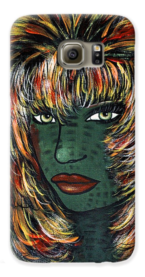 Woman Galaxy S6 Case featuring the painting Tattoo by Natalie Holland