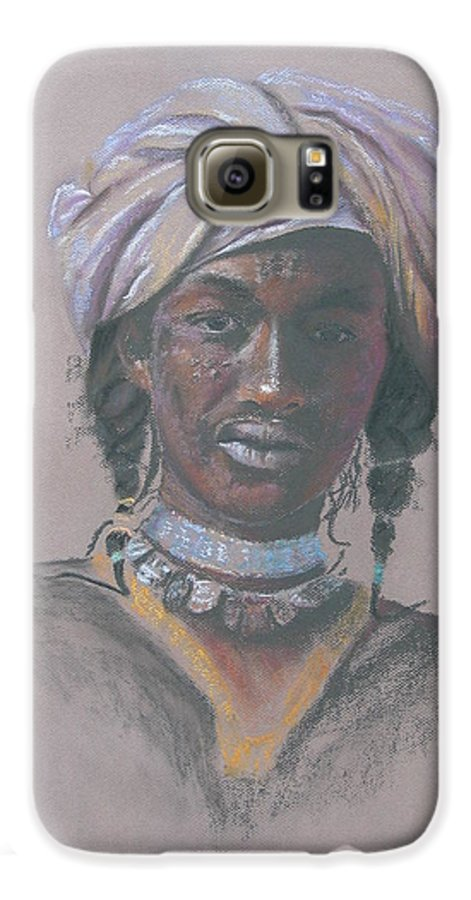 Portrait Galaxy S6 Case featuring the painting Tchad Warrior by Maruska Lebrun