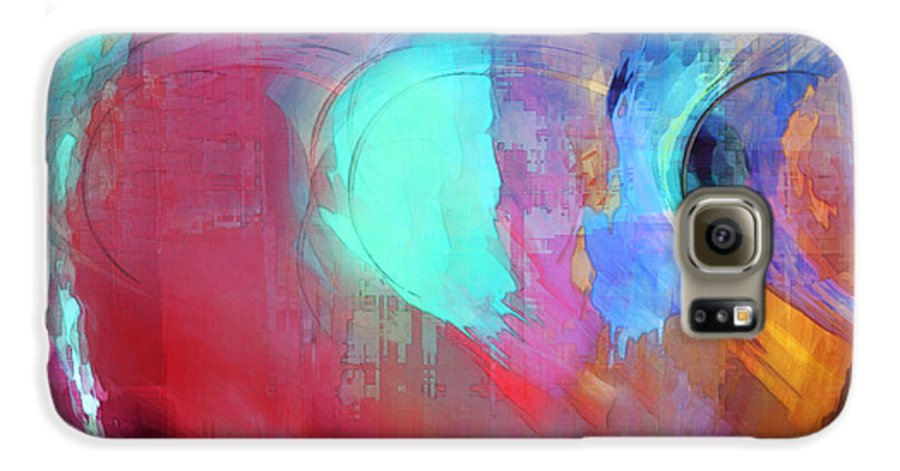 Abstract Galaxy S6 Case featuring the digital art The Afterglow by Linda Sannuti