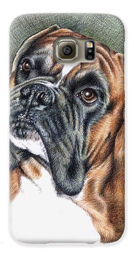 Dog Galaxy S6 Case featuring the drawing The Boxer by Nicole Zeug