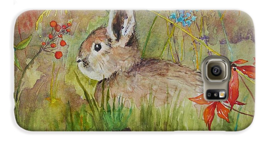 Nature Galaxy S6 Case featuring the painting The Bunny by Mary Ellen Mueller Legault