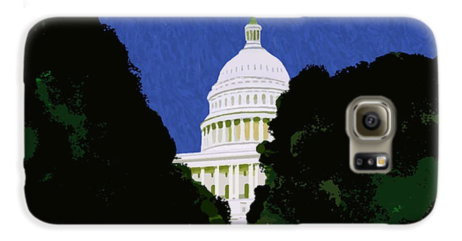 Capitol Galaxy S6 Case featuring the painting The Capitol by Pharris Art