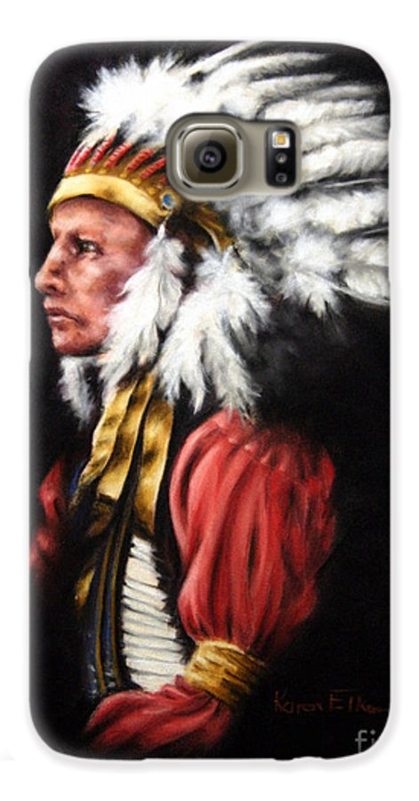 Native American Galaxy S6 Case featuring the pastel The Chief 2 by Karen Elkan