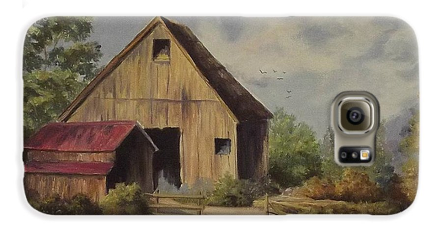 Landscape Galaxy S6 Case featuring the painting The Deserted Barn by Wanda Dansereau