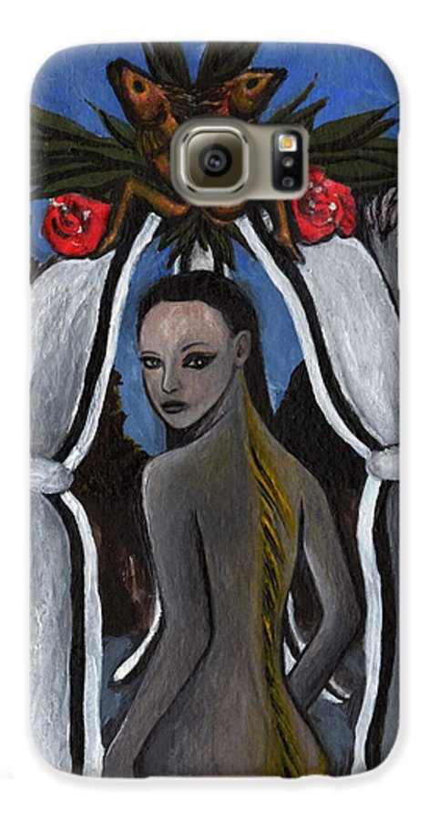 Mermaid Galaxy S6 Case featuring the painting The Fable Of The Fish by Ayka Yasis