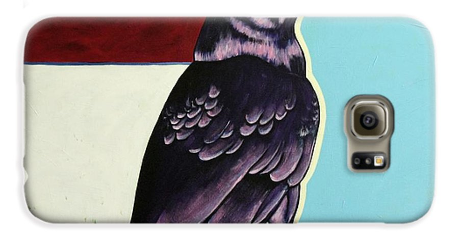 Wildlife Galaxy S6 Case featuring the painting The Gossip - Raven by Joe Triano