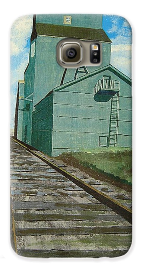 Elevator Galaxy S6 Case featuring the painting The Grain Elevator by Anthony Dunphy