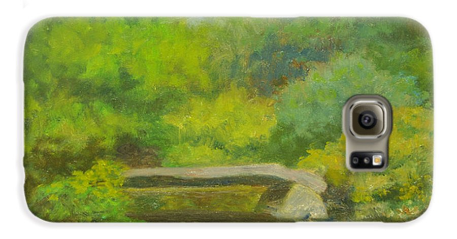 Landscape Galaxy S6 Case featuring the painting The Greens Of Summer by Phyllis Tarlow