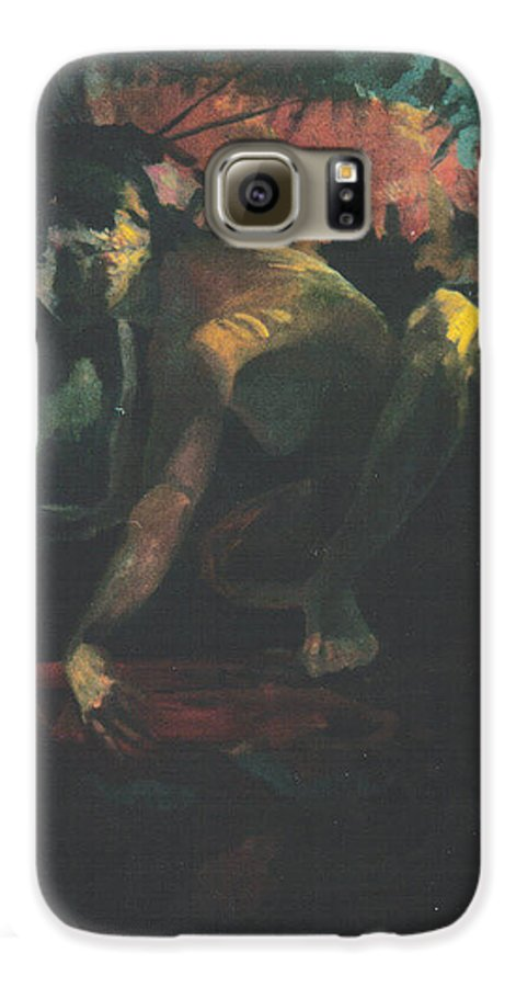 Figure Galaxy S6 Case featuring the painting The Hot Tub by John L Campbell