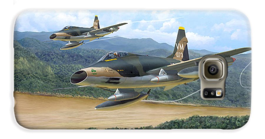 Aviation Galaxy S6 Case featuring the painting The Hun - F-100 Super Sabres In Vietnam by Mark Karvon