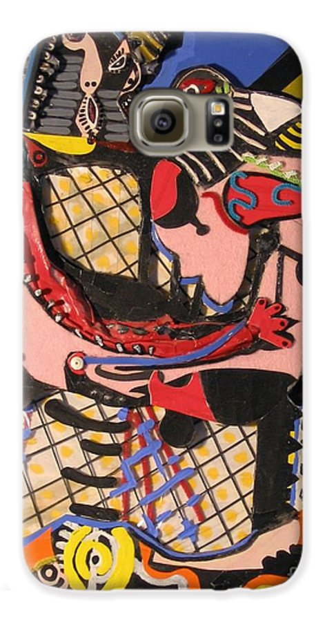 Abstract Galaxy S6 Case featuring the mixed media The Kiss Aka The Embrace After Picasso 1925 by Mack Galixtar