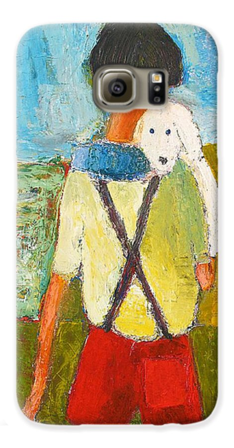 Abstract Galaxy S6 Case featuring the painting The Little Puppy by Habib Ayat