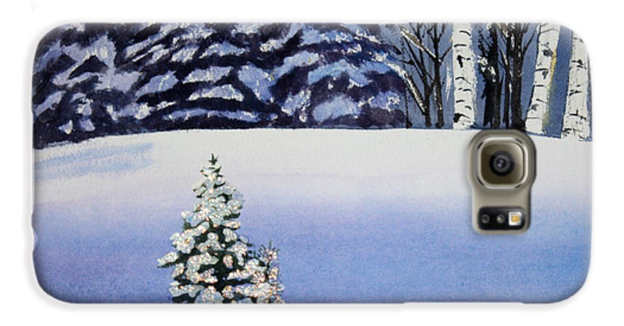 Christmas Galaxy S6 Case featuring the painting The Lone Christmas Tree by Patricia Novack