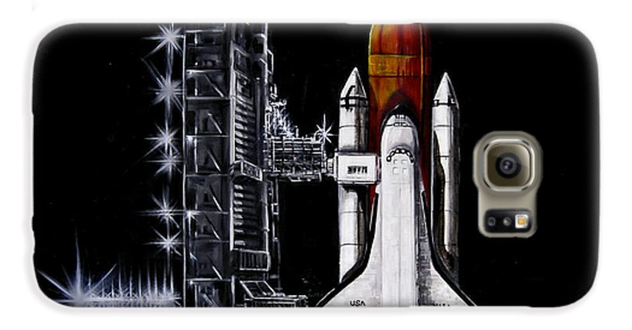 Shuttle Galaxy S6 Case featuring the painting The Night Before by Murphy Elliott