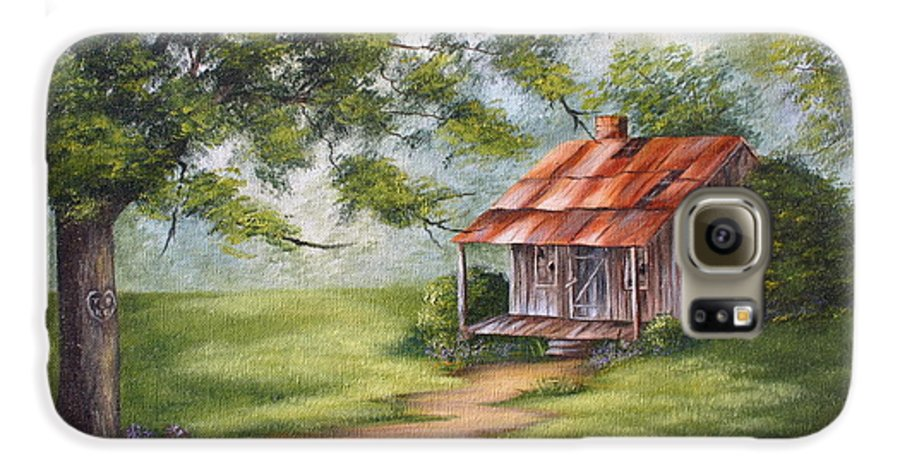 Oil Galaxy S6 Case featuring the painting The Old Homestead by Ruth Bares
