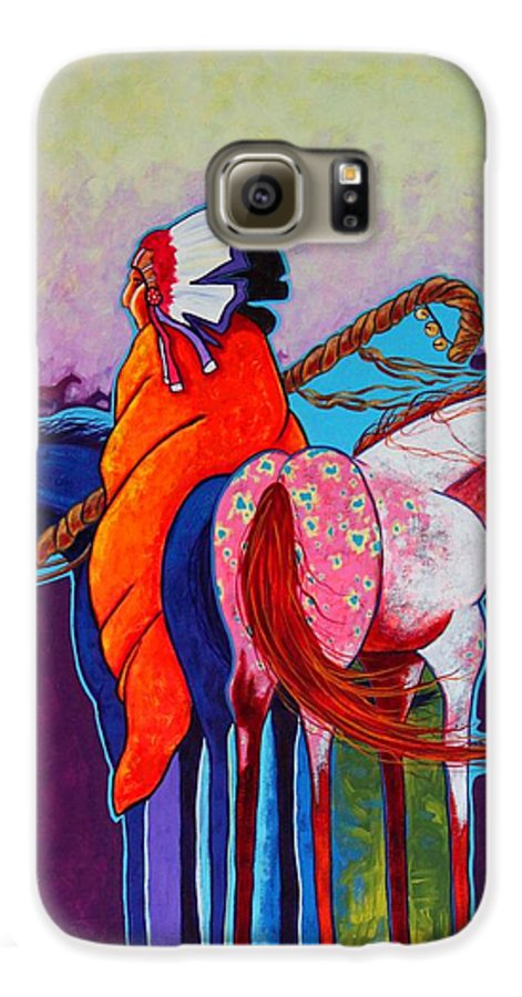 Native American Galaxy S6 Case featuring the painting The Peacemakers Gift by Joe Triano