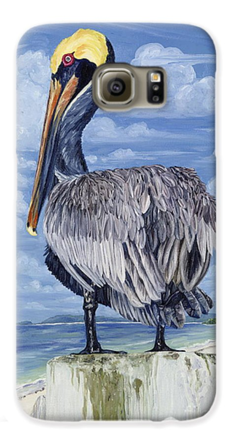 Seascape Galaxy S6 Case featuring the painting The Pelican Perch by Danielle Perry