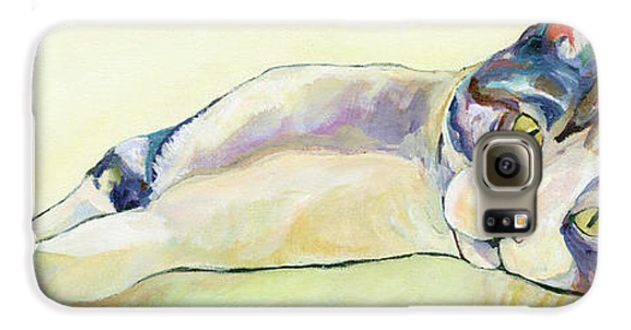 Pat Saunders-white Canvas Prints Galaxy S6 Case featuring the painting The Sunbather by Pat Saunders-White