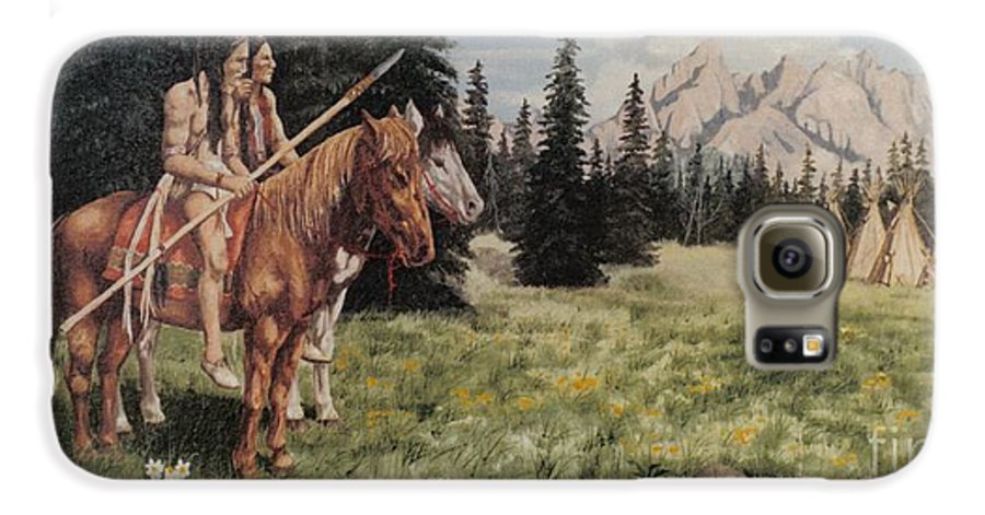 Landscape Galaxy S6 Case featuring the painting The Tetons Early Tribes by Wanda Dansereau