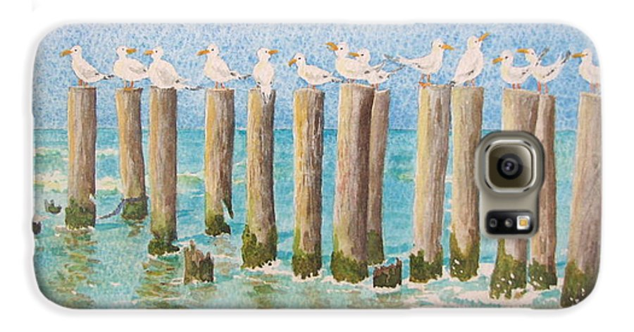 Seagulls Galaxy S6 Case featuring the painting The Town Meeting by Mary Ellen Mueller Legault