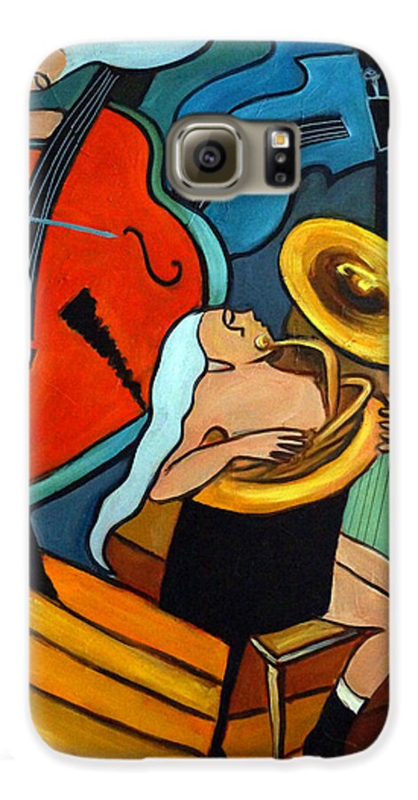 Musician Abstract Galaxy S6 Case featuring the painting The Tuba Player by Valerie Vescovi