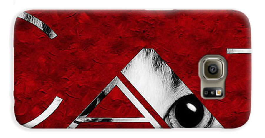 Andee Design Cat Galaxy S6 Case featuring the photograph The Word Is Cat Bw On Red by Andee Design