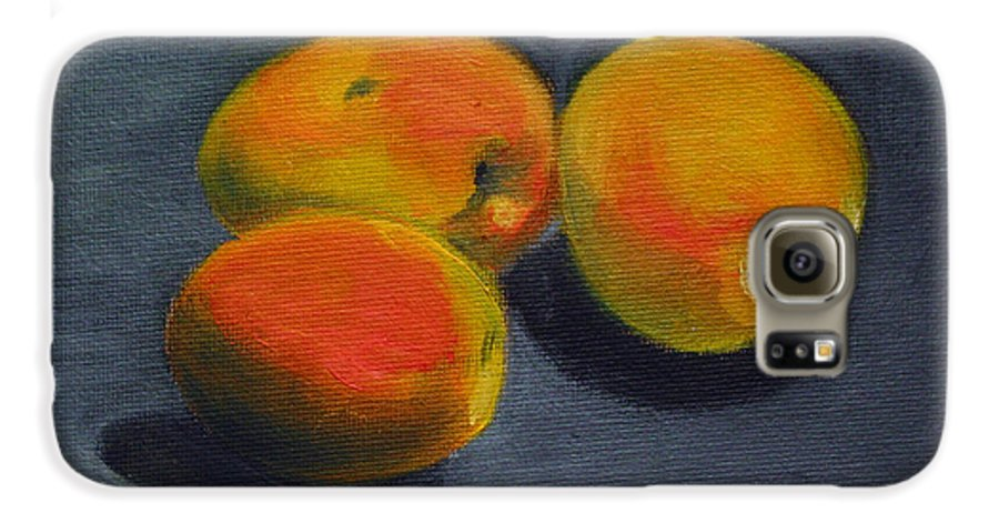 Food Galaxy S6 Case featuring the painting Three Apricots by Sarah Lynch