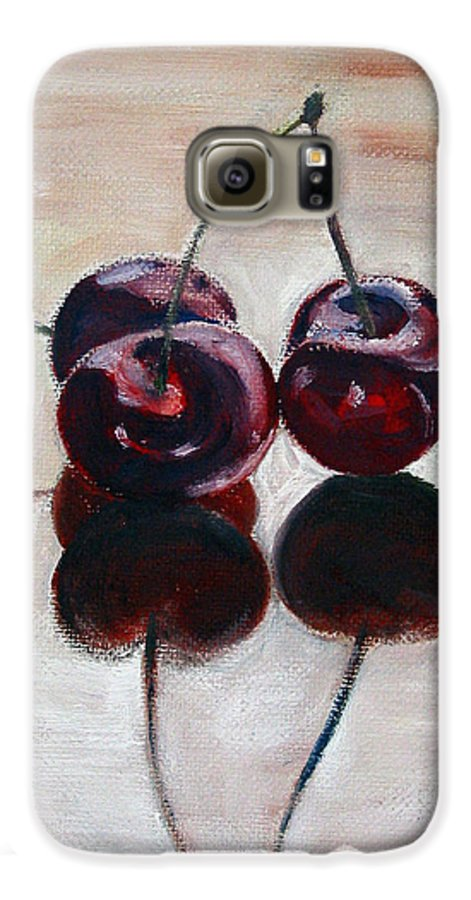 Food Galaxy S6 Case featuring the painting Three Cherries by Sarah Lynch