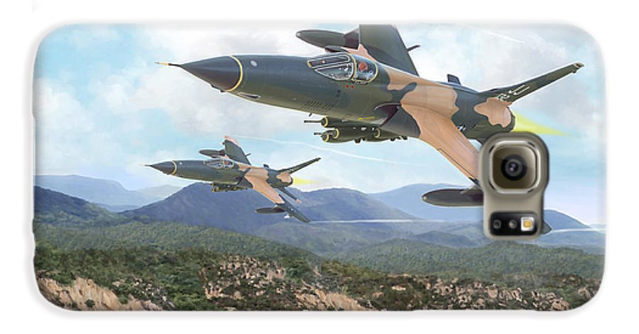 F-105 Thunderchief Galaxy S6 Case featuring the painting Thuds Bringin' It Downtown by Mark Karvon