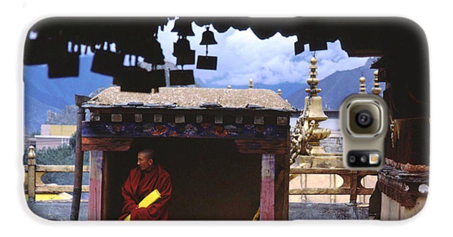 Tibet Galaxy S6 Case featuring the photograph Tibetan Monk With Scroll On Jokhang Roof by Anna Lisa Yoder